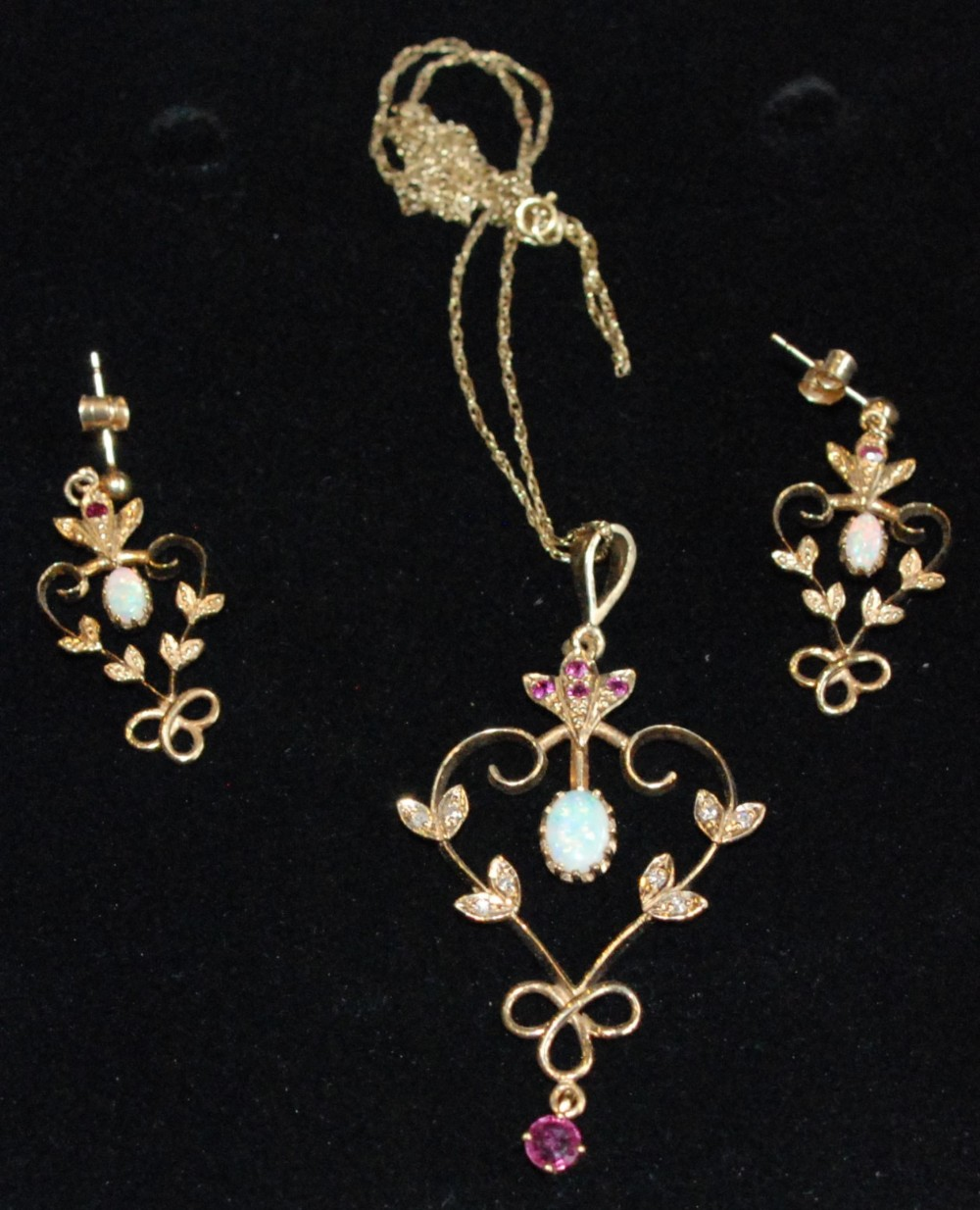 opal ruby and diamond pendant and earring set