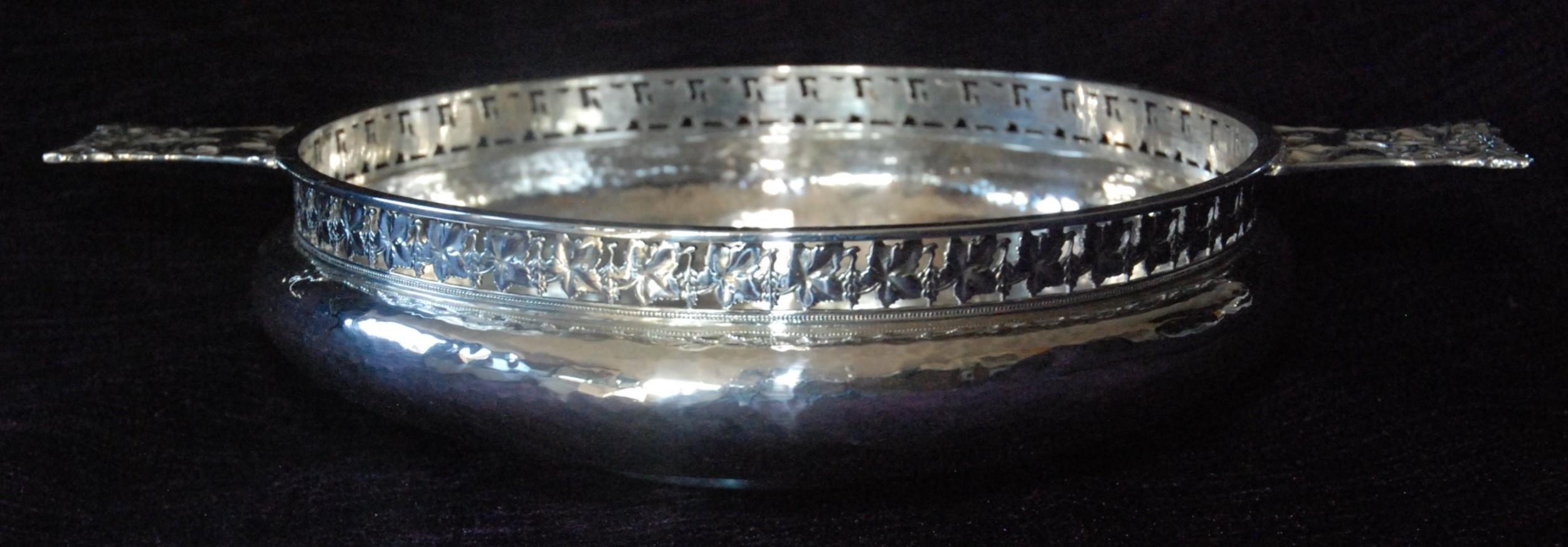 a e jones arts crafts silver bowl with fox and grapes design 1909