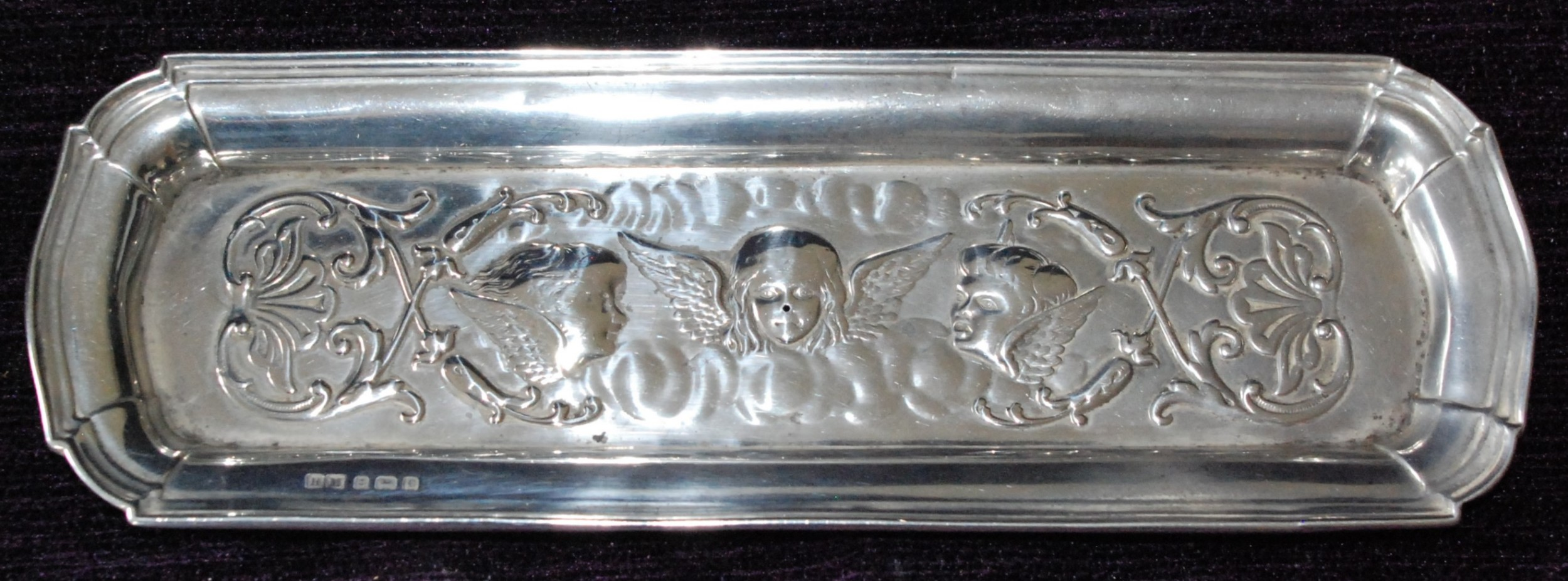 edwardian silver pen tray