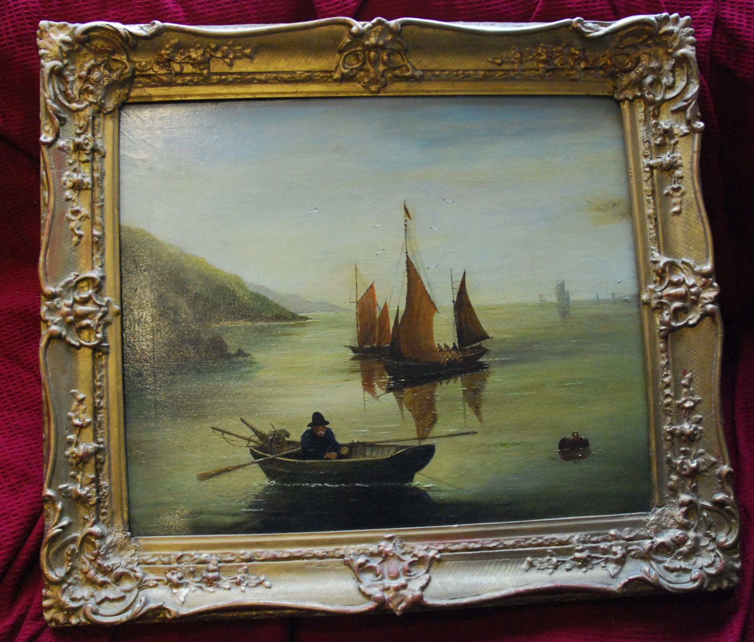victorian seascape oil on canvas
