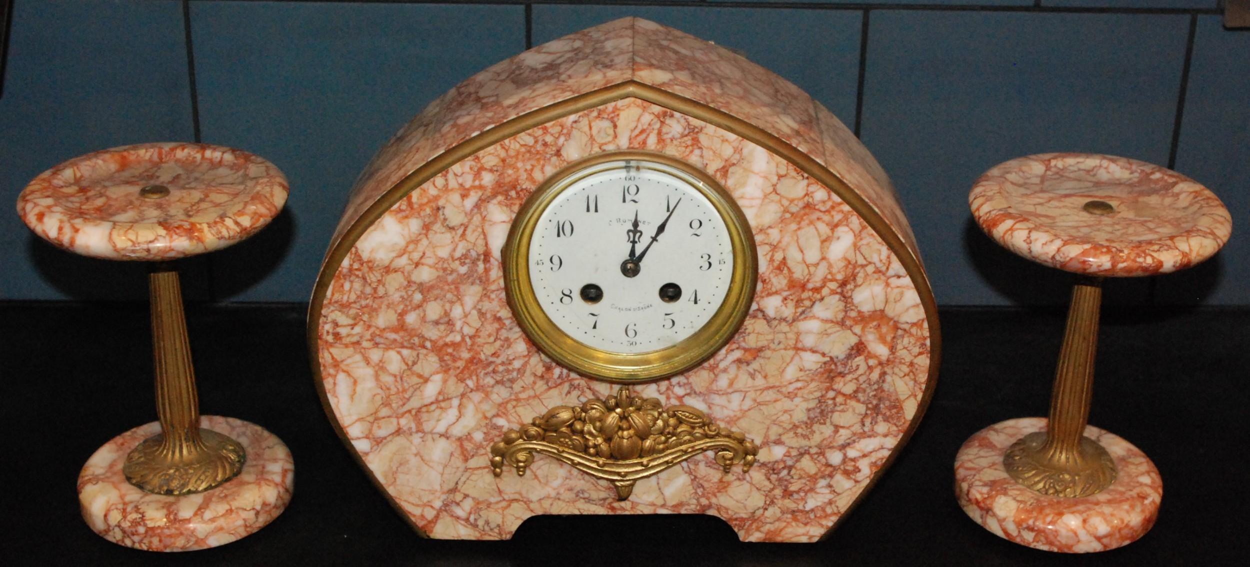 french art deco 8day garniture clock