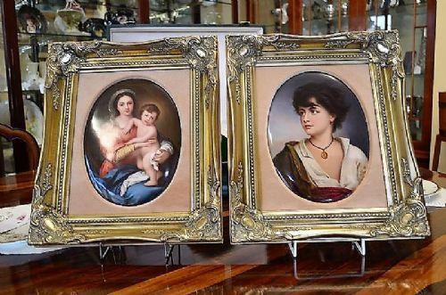 pair of berlin porcelain plaquesin gilt frames