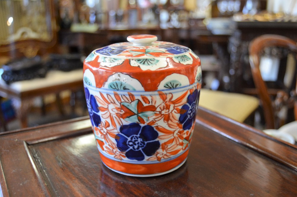 19th century imari japanese jar cover