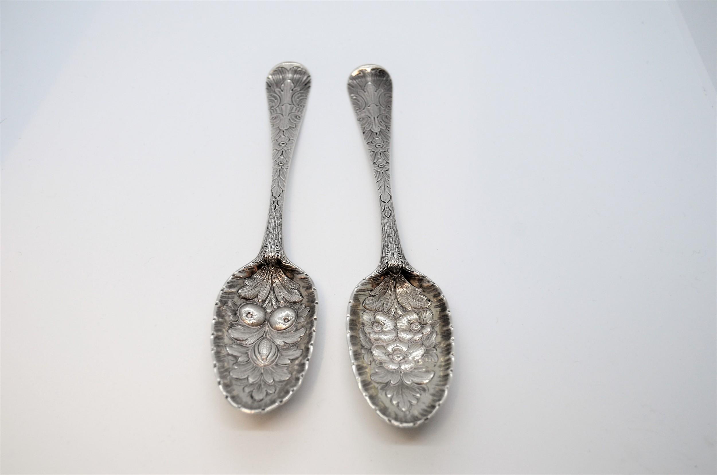 pair of 18th century irish silver spoons