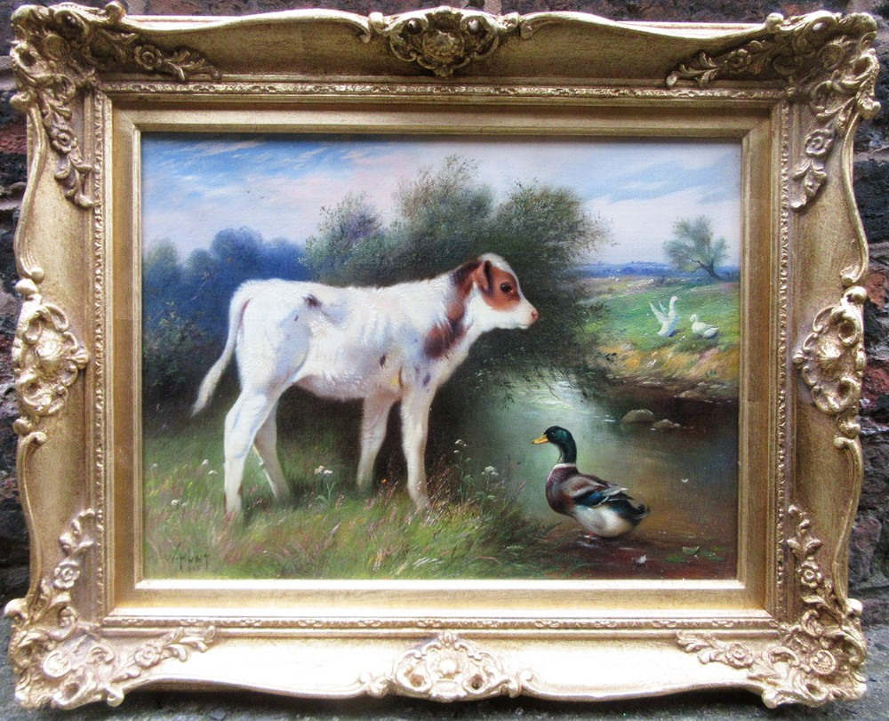 farming landscape calf and mallard oil painting by a stream by walter hunt