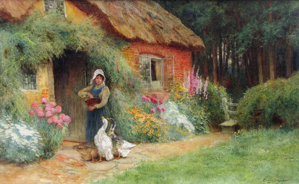 feeding geese in cottage garden watercolour painting by arthur claude strachan