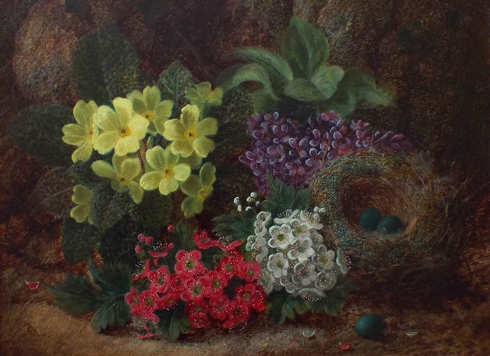 still life flowers a birds nest against a mossy bank oil painting by oliver clare