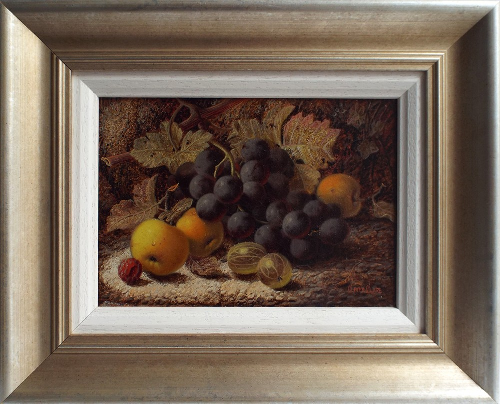 still life black grapes 3 apples 2 gooseberries and raspberry against a mossy bank oil painting by oliver clare