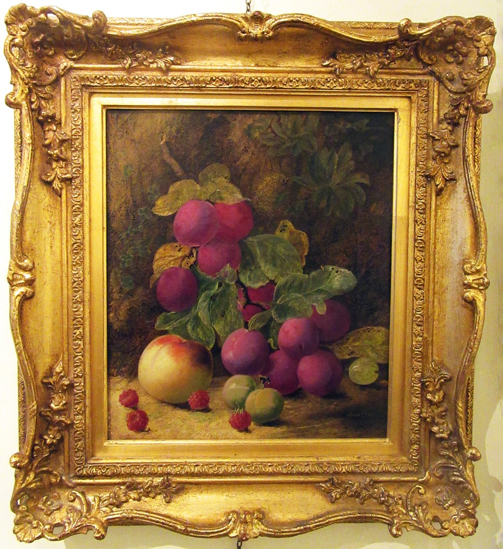 still life peach plums greengages gooseberry raspberries oil painting by oliver clare