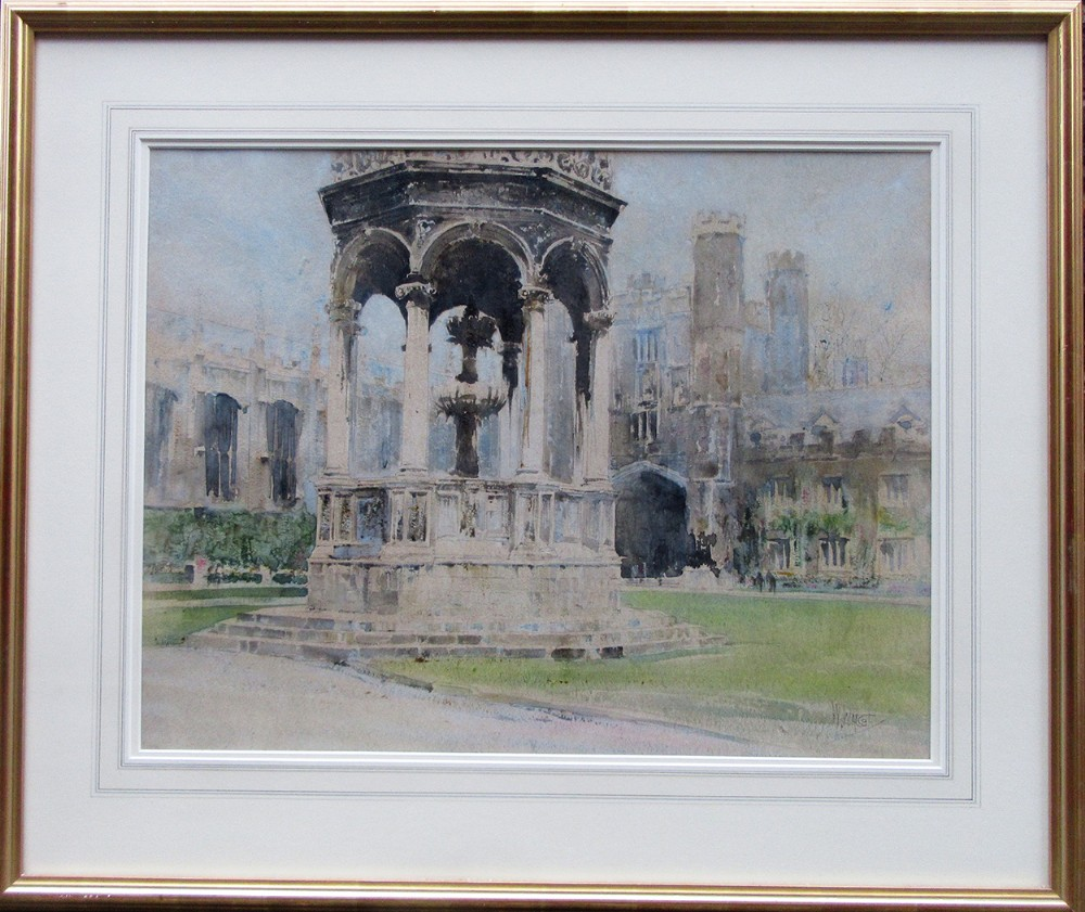 trinity college cambridge watercolour painting by william walcot