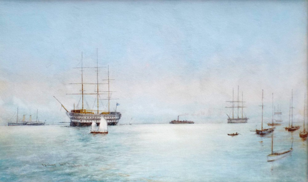 hms conway rock ferry watercolour painting by william m birchall