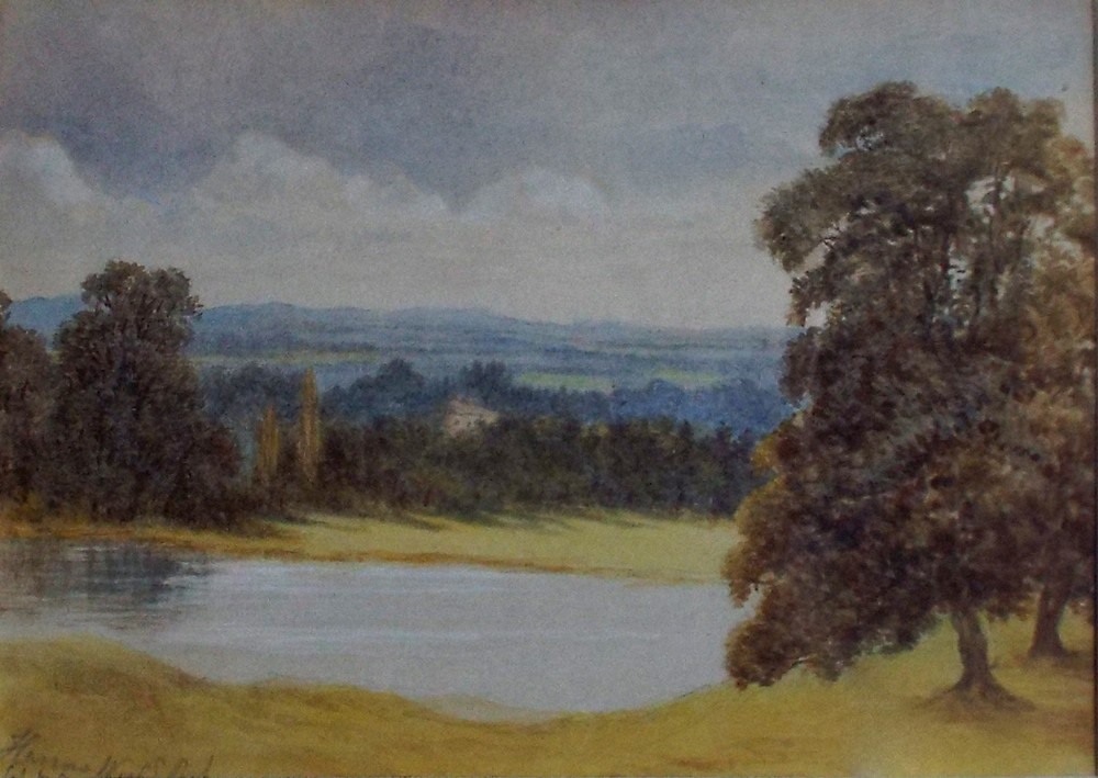 original harrow wield park watercolour painting by florence billing