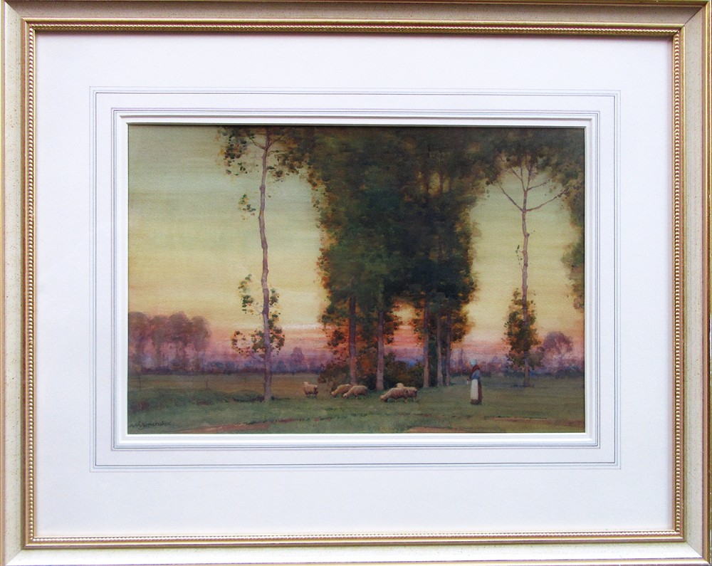 sunsetting in a continental landscape watercolour painting by a moulton foweraker