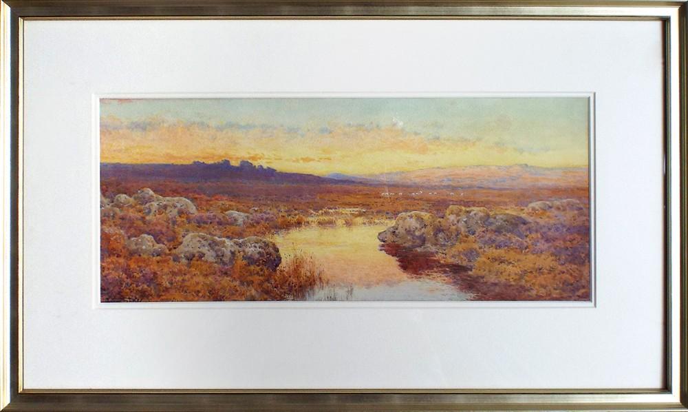 evening dartmoor watercolour painting by arthur suker