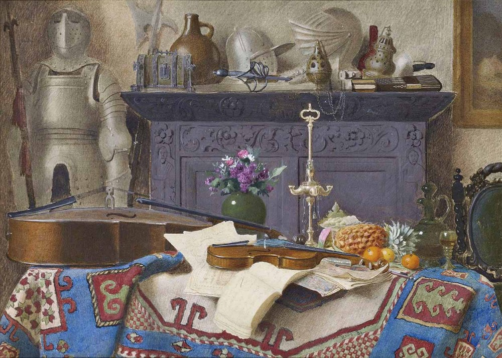 'a connoisseurs collection' pencil watercolour painting by benjamin walter spiers