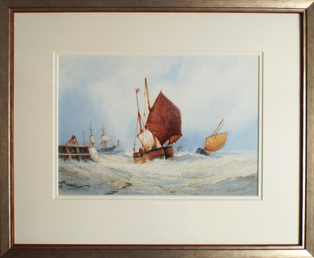 framed original watercolour painting fishing boats at sea by frederick james aldridge
