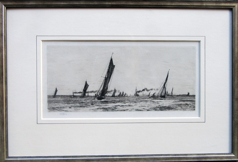 the return of the fishing fleet portsmouth harbour etching by william wyllie