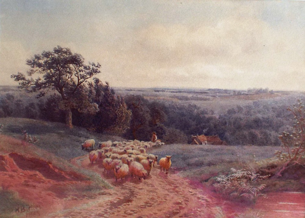 framed original watercolour landscape sheep painting by henry birtles