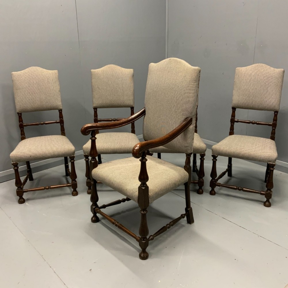 set of 5 spindle chairs with vintage fabric