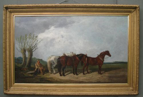 'suffolk horses' large english school oil circle of alfred munnings c1910