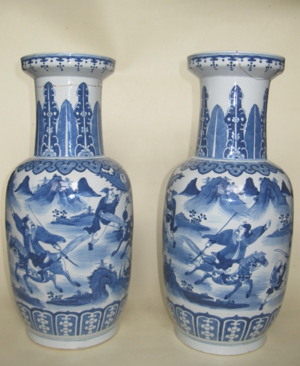 Chinese qing dynasty pair of large blue white rouleau vases chinese qing dynasty pair of large blue white rouleau vases circa 1800s reviewsmspy