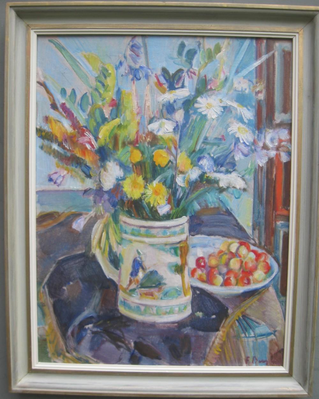mid 20thc modernistpost impressionist still life oil circa 1941