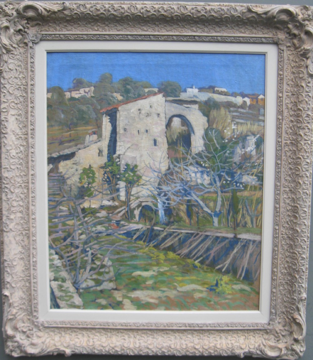 french impressionist provence hill top town oil circa 1920's