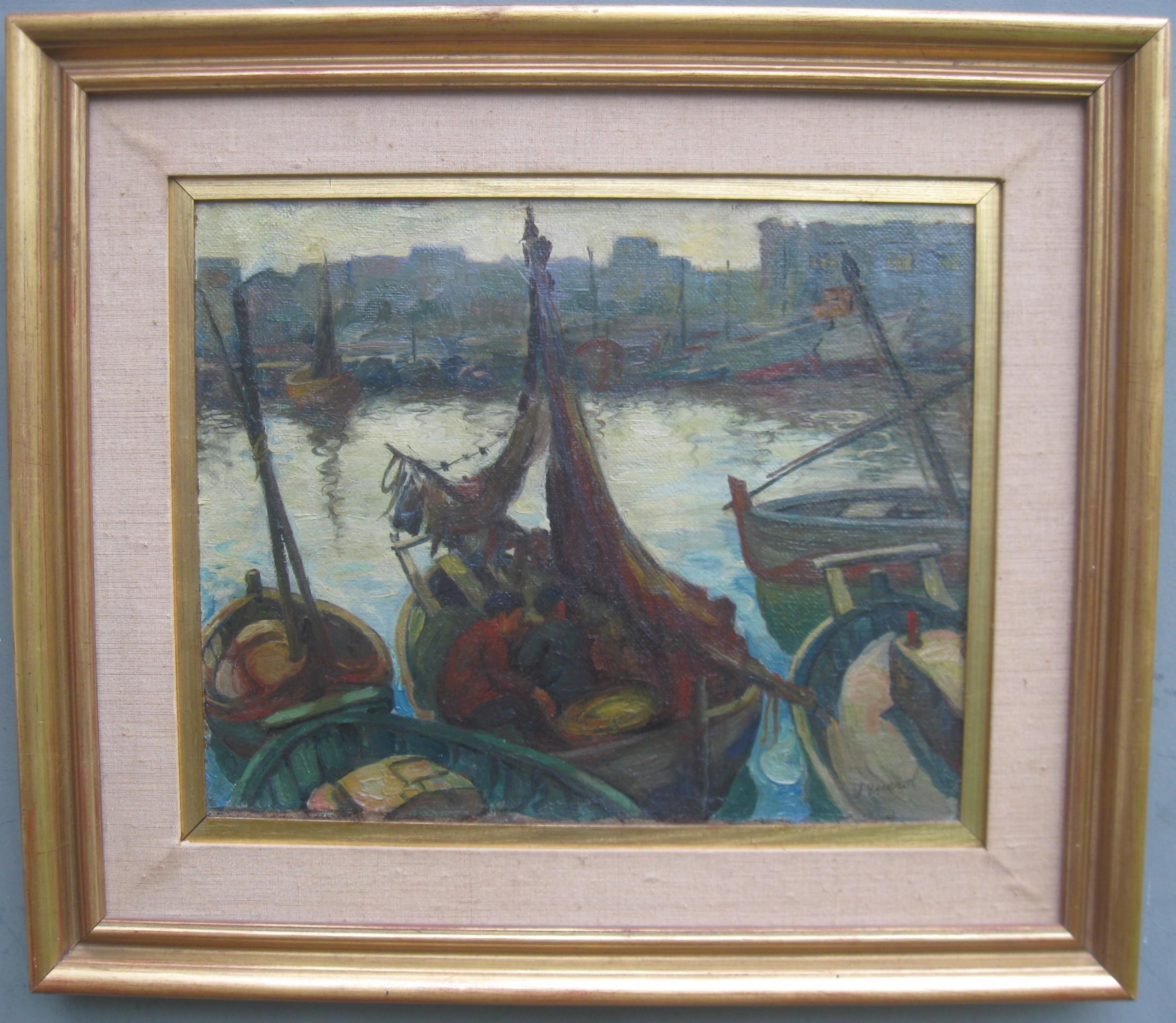 post impressionist leroy querol 18901967 mediterranean evening harbour scene oil circa 1950's