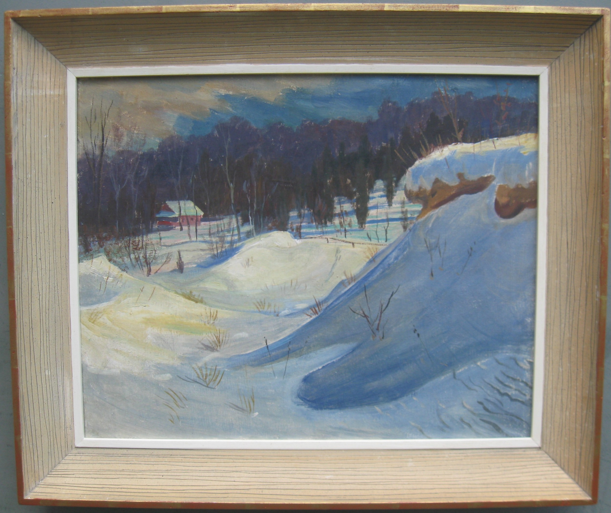 post impressionist 'snowdrifts in a wooded landcsape' oil circa 1950's