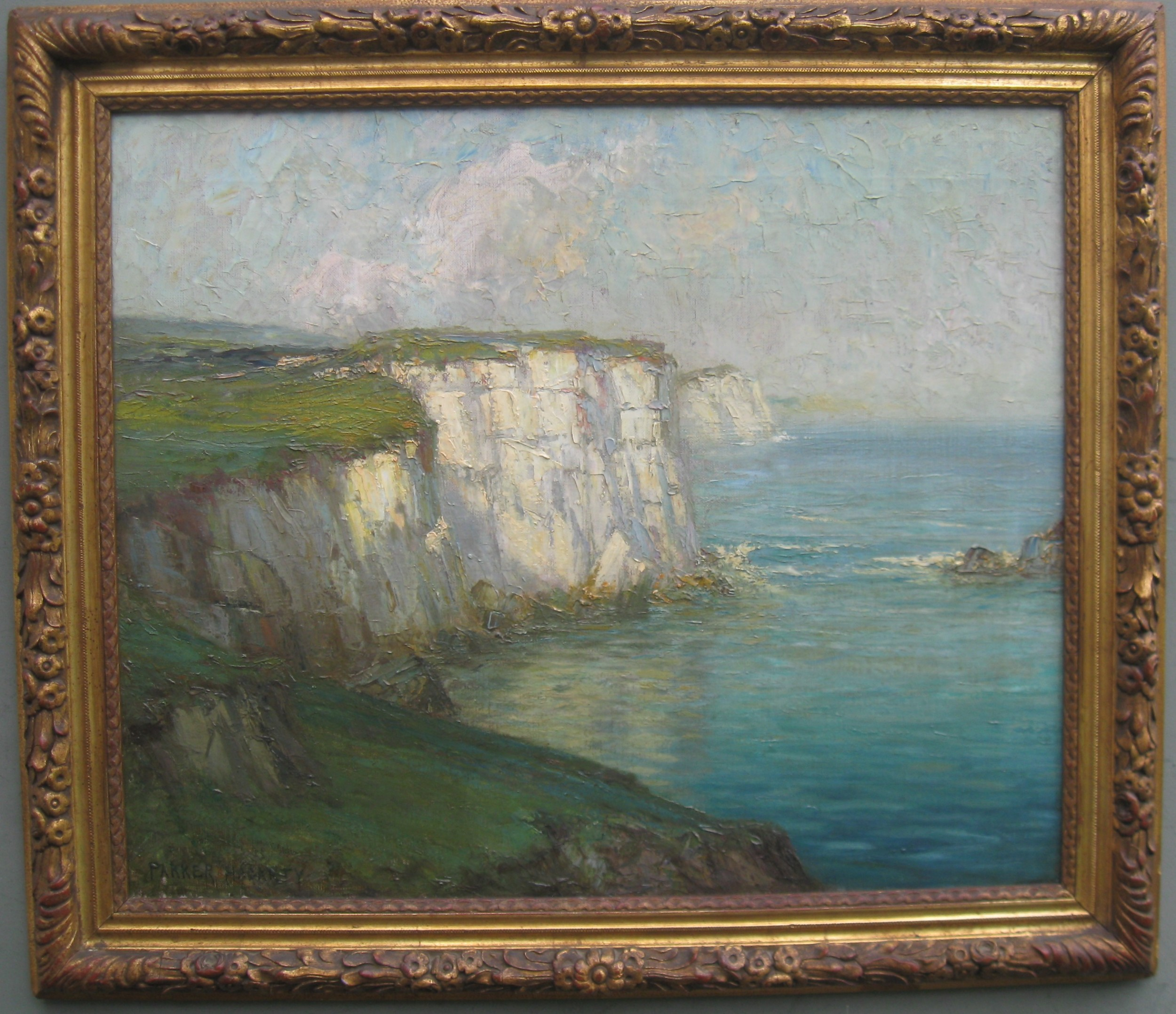 british impressionist chalk cliffs on the south coast oil circa 1900