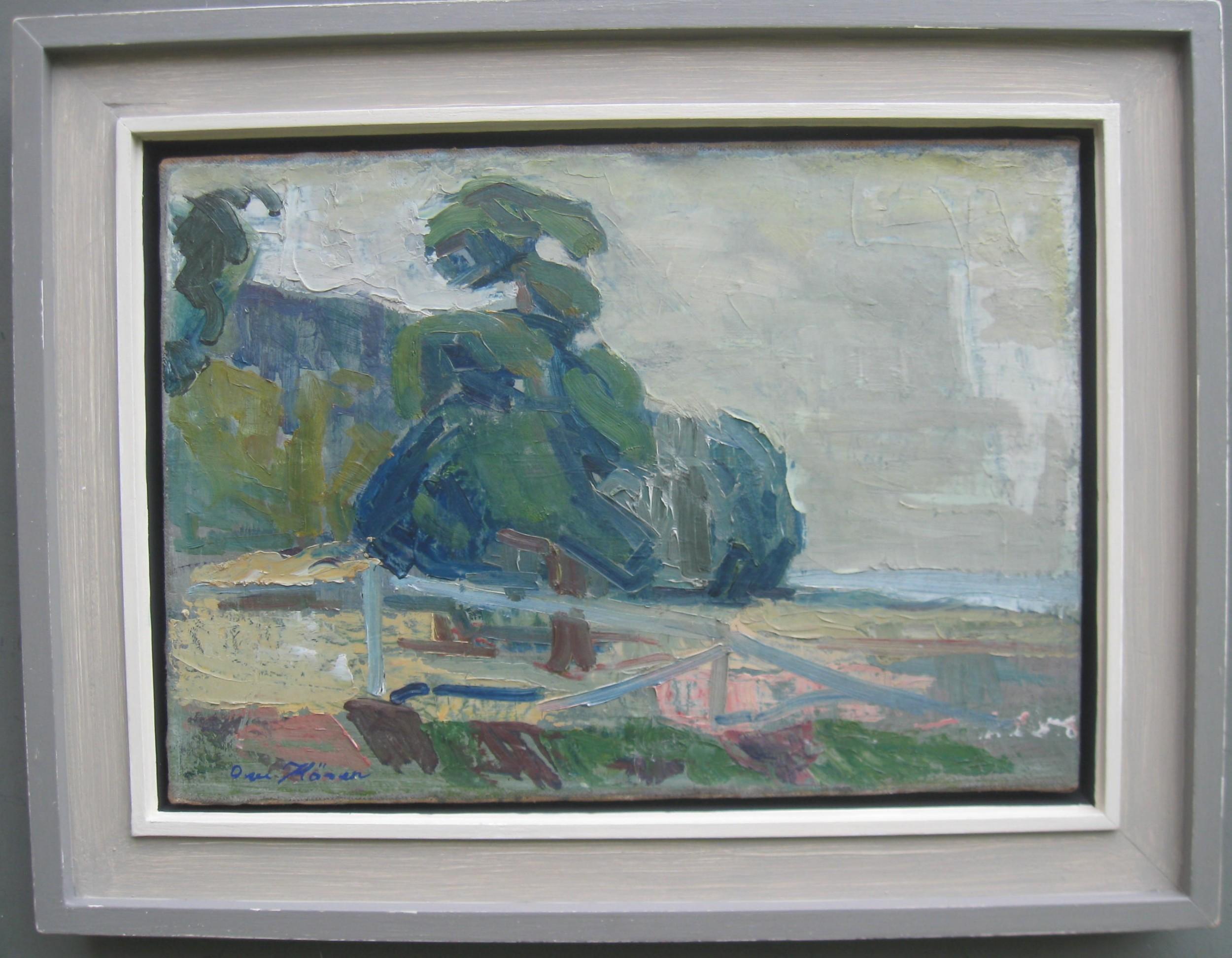 mid 20thc modernistexpressionist beach landscape oil