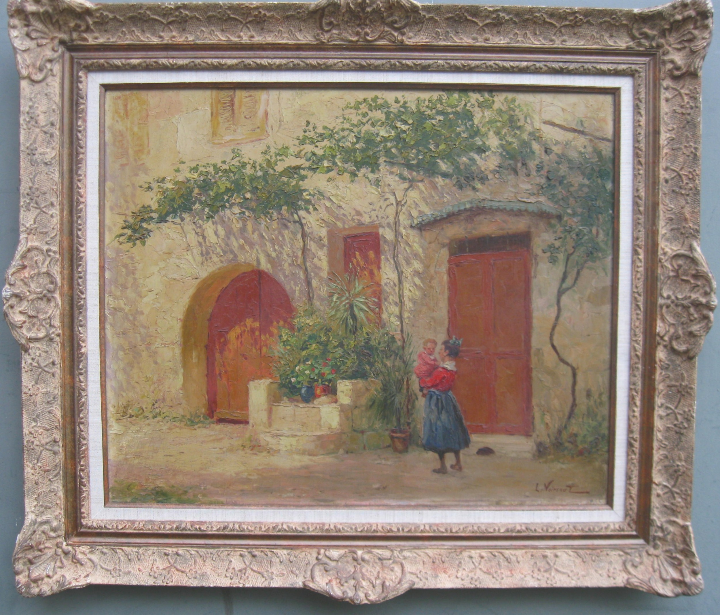 french impressionist 'mother and child in a sunny courtyard' oil c1930's