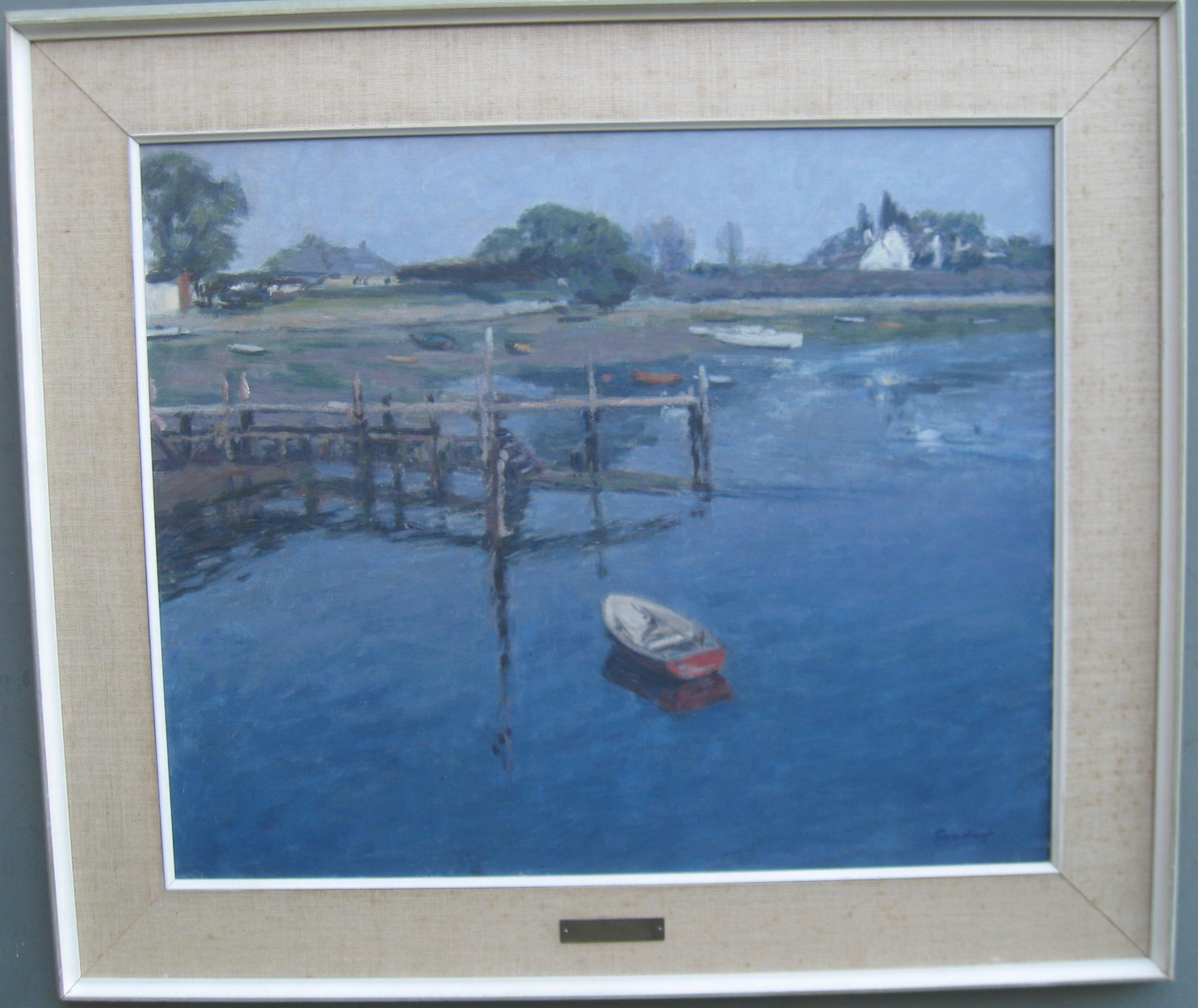 british impressionist christopher sanders ra 19051991 'the red dinghy' oil