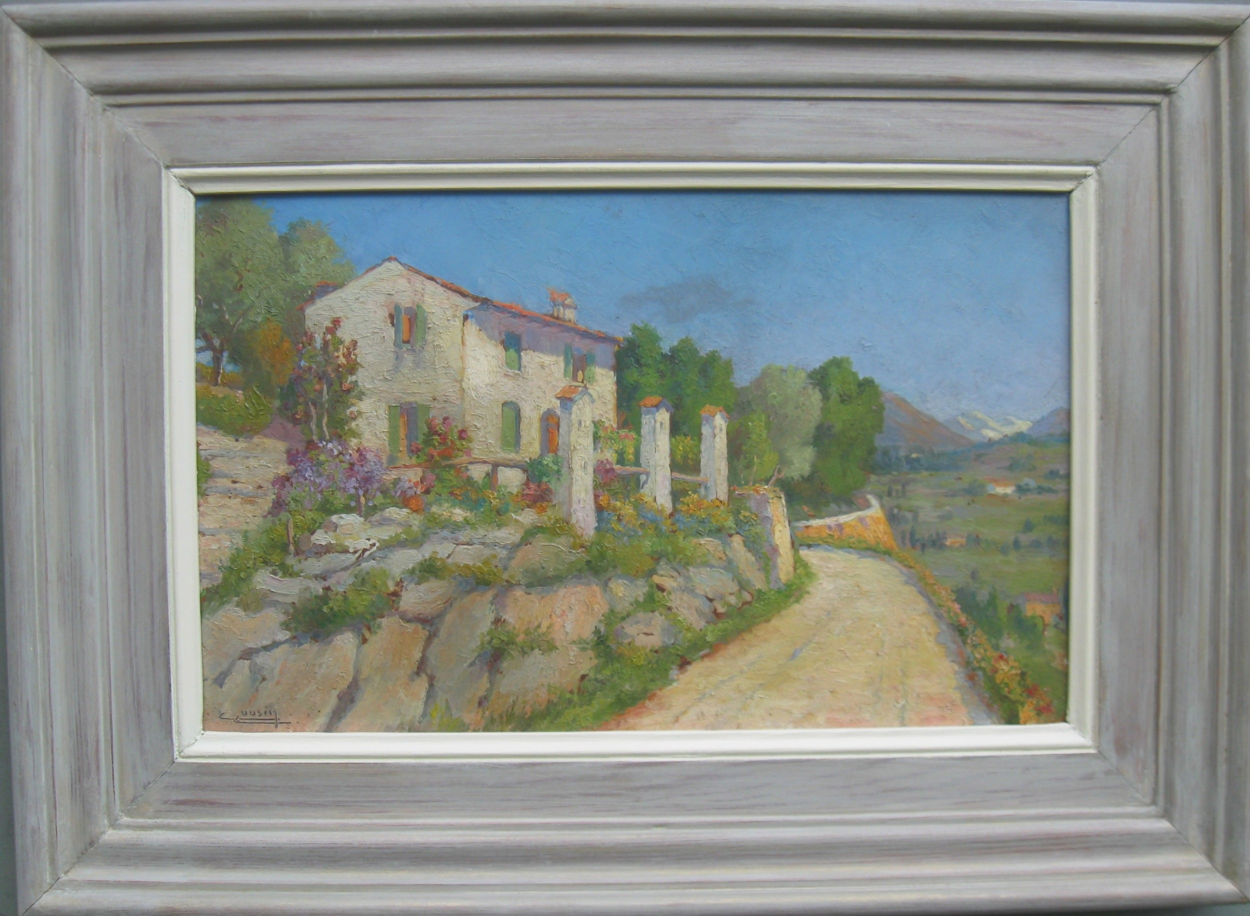 french impressionist 'provence villa on a summers day' signed oil c1930's