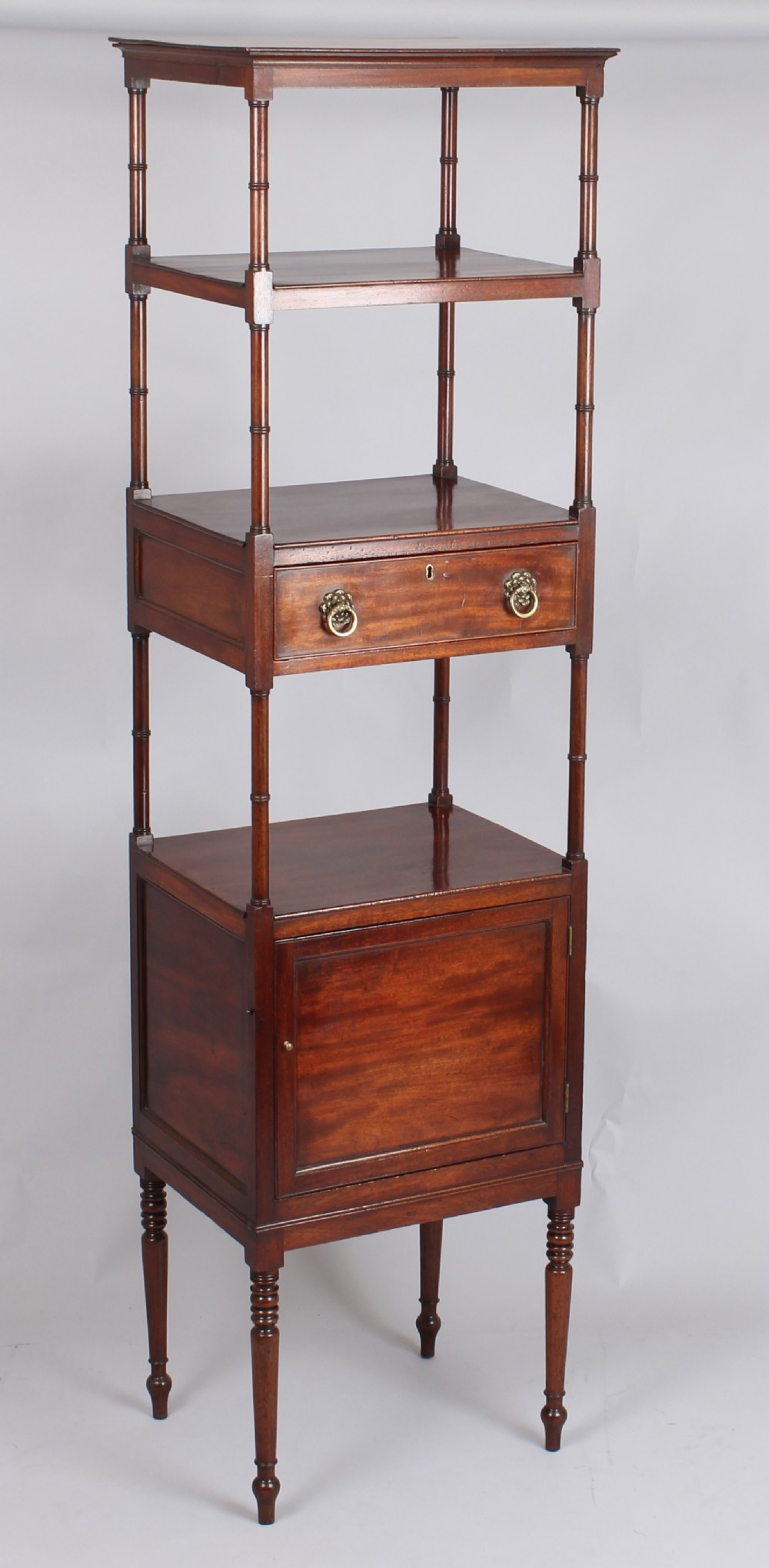 george iii period mahogany tall whatnot with four shelves