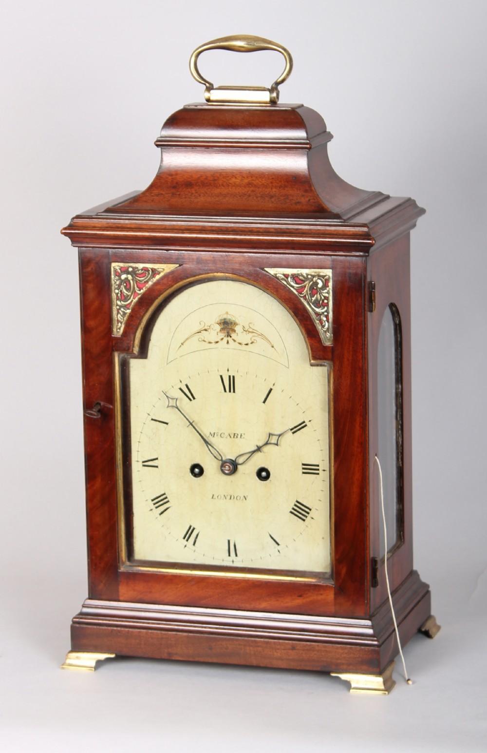 george iii period mahogany belltop bracket clock by mccabe of london