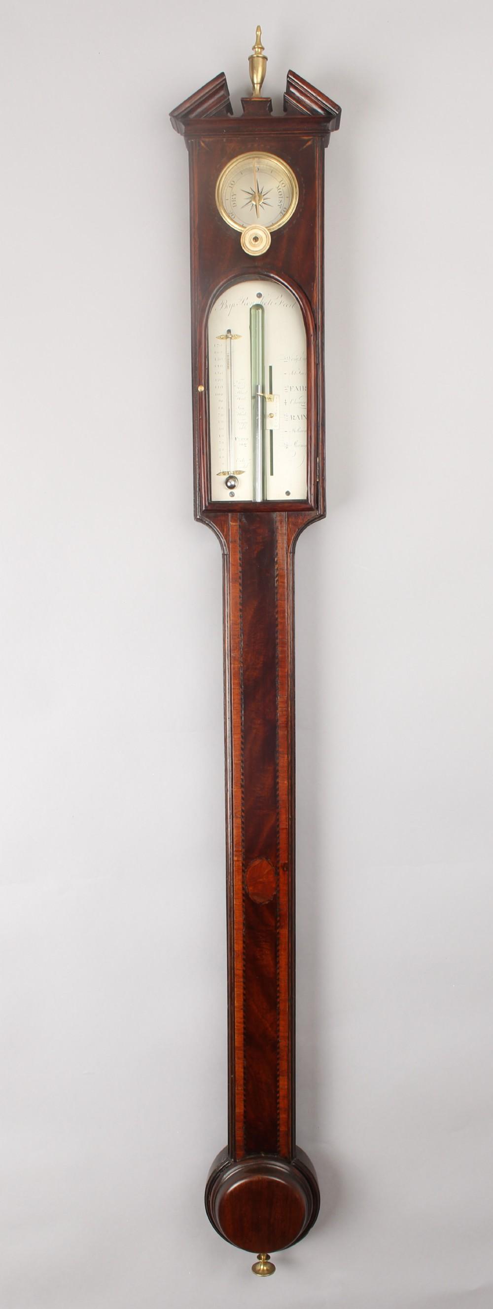 a george iii period mahogany stick barometer by baptista ronchetti of london