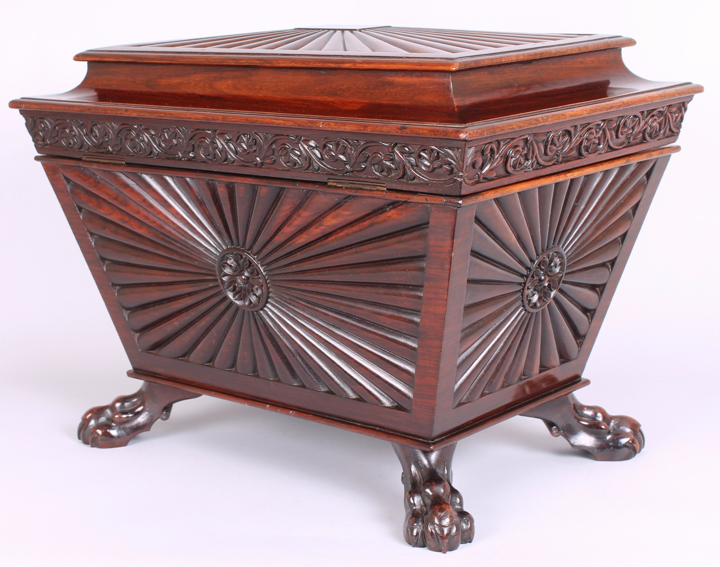 george iv period solid rosewood casket in the angloindian manner