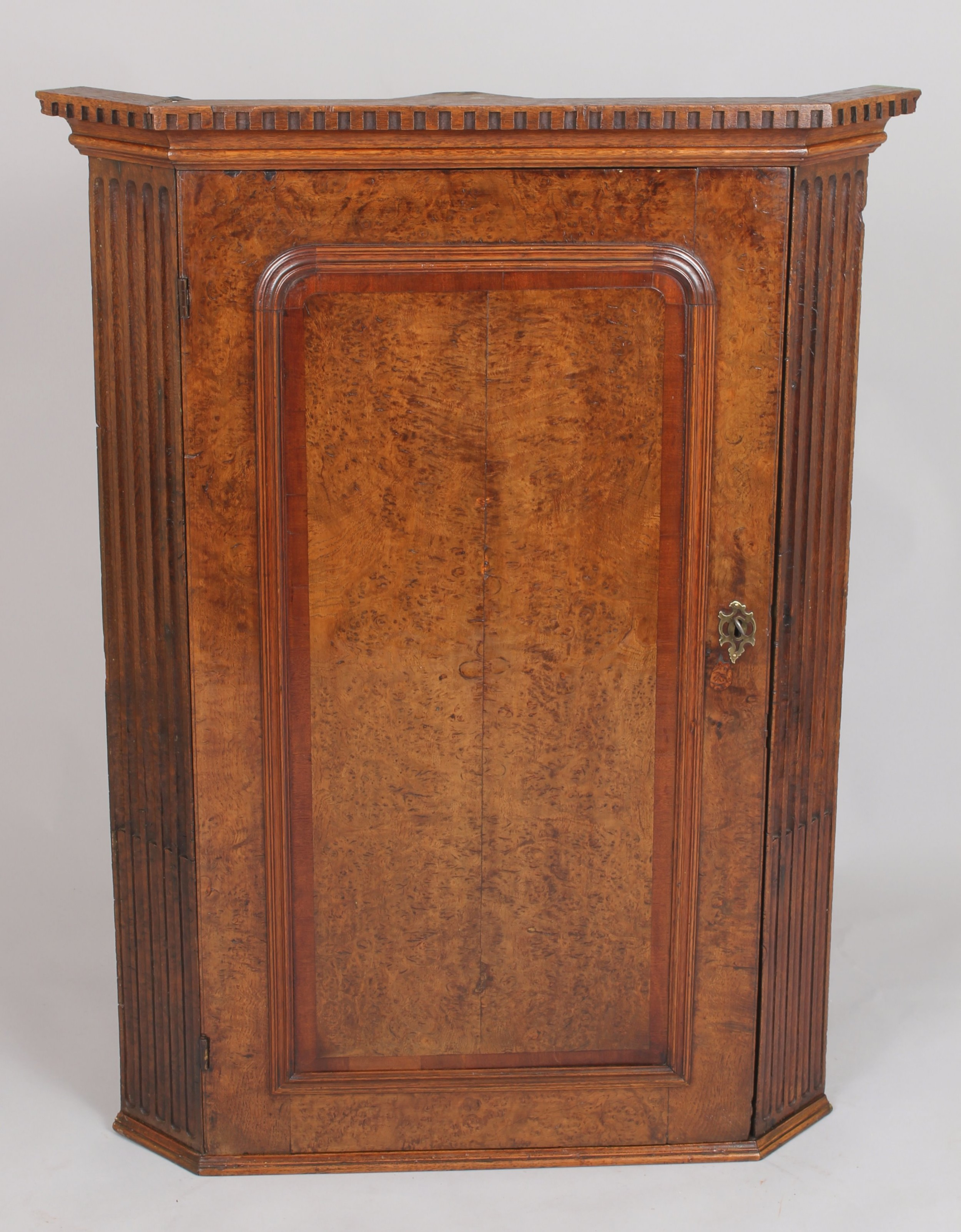 early george iii period burr oak corner cupboard