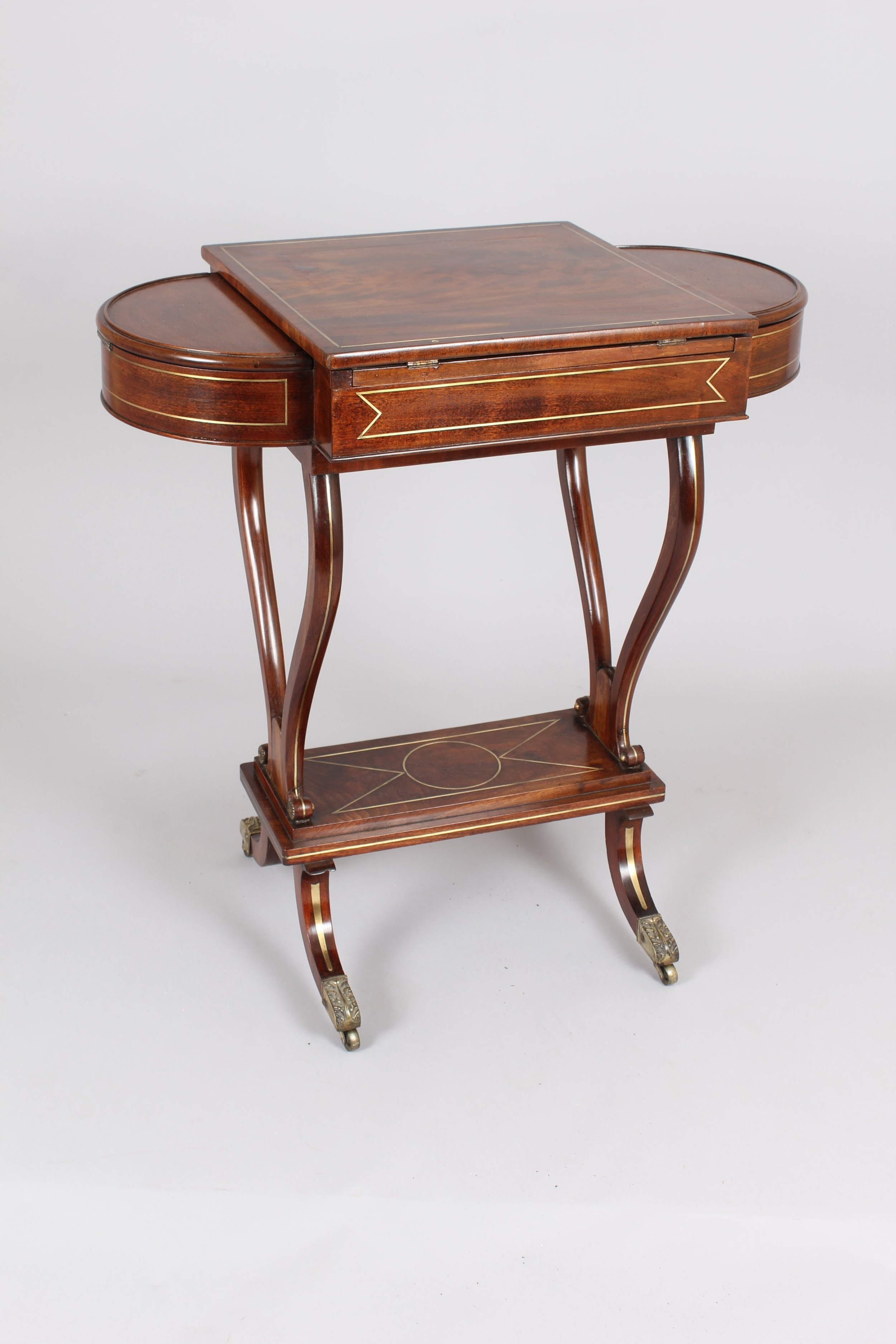 regency mahogany and brass inlaid worktable