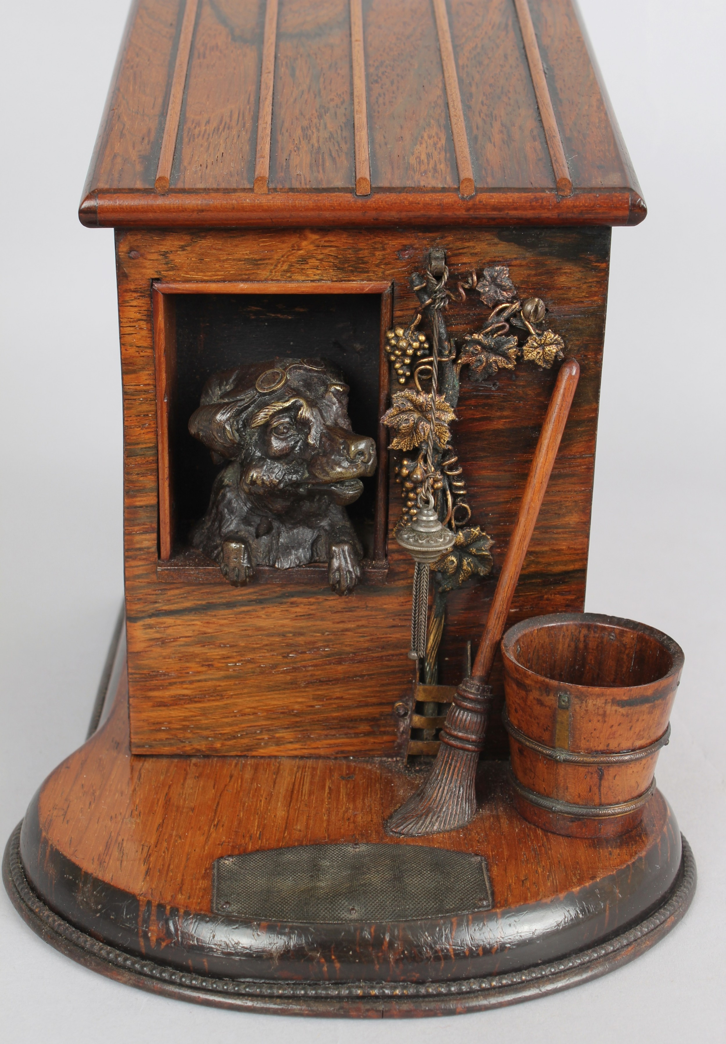late 19th century rosewood novelty cigarbox in the form of a dogkennel