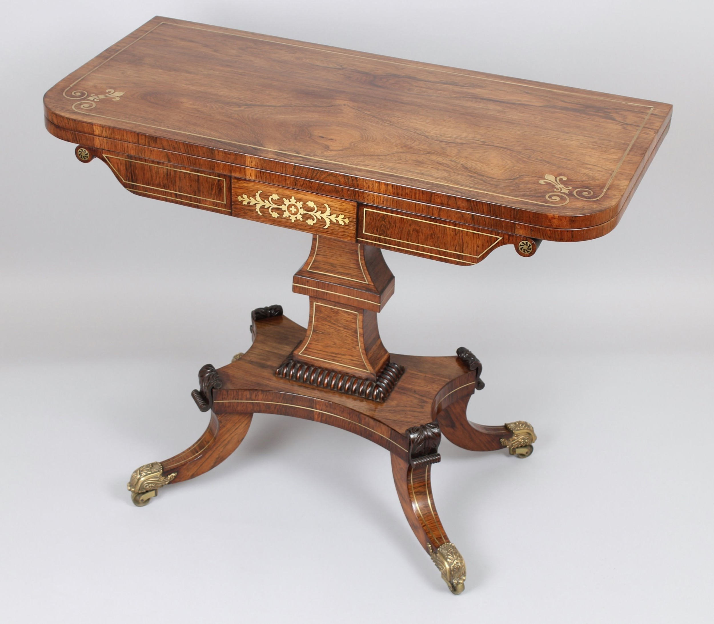 fine quality regency rosewood and brass inlaid cardtable