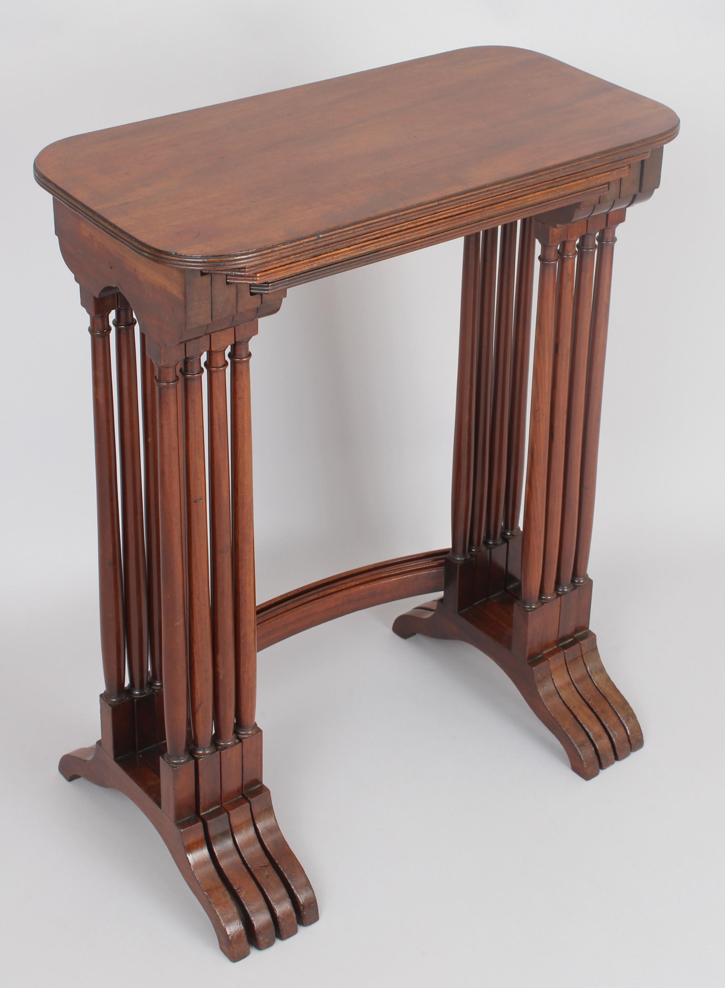 george iii period mahogany set of quartetto tables