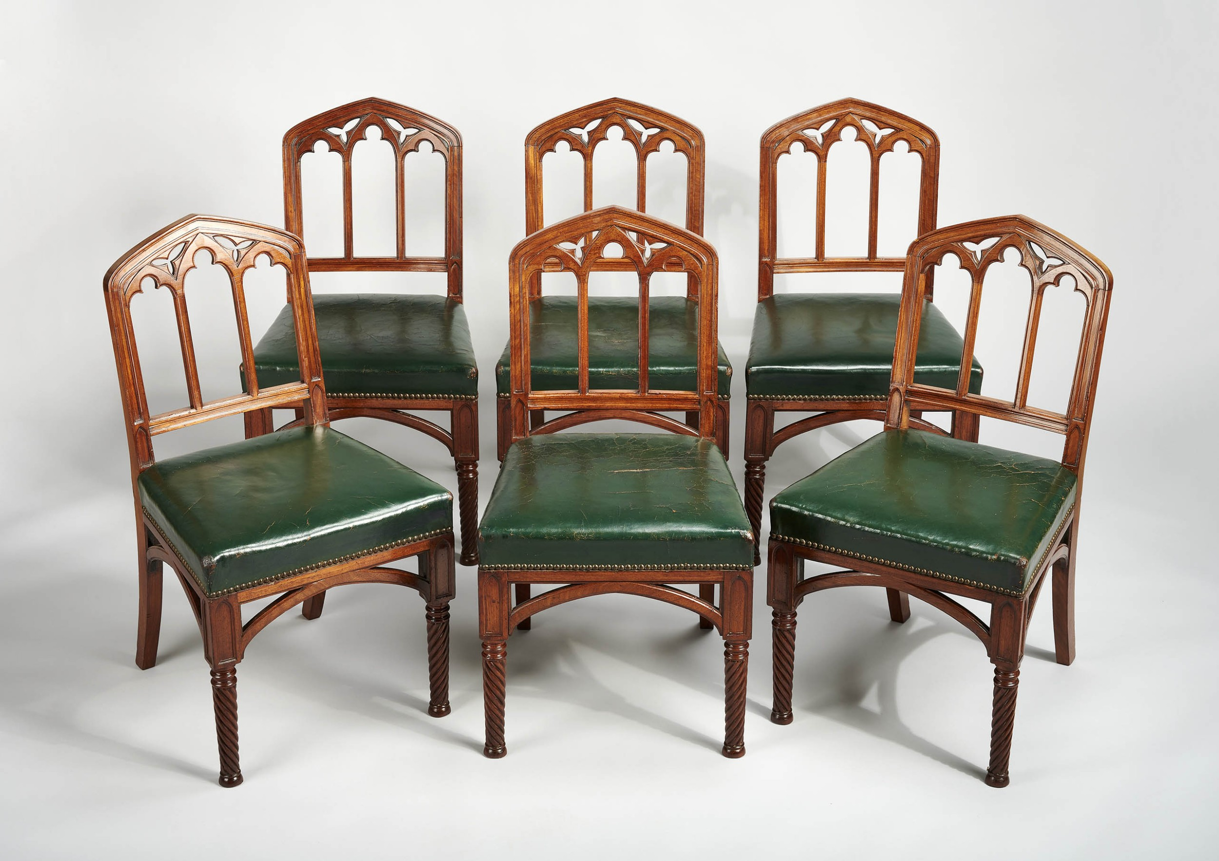fine and rare set of six regency mahogany chairs in the gothic taste
