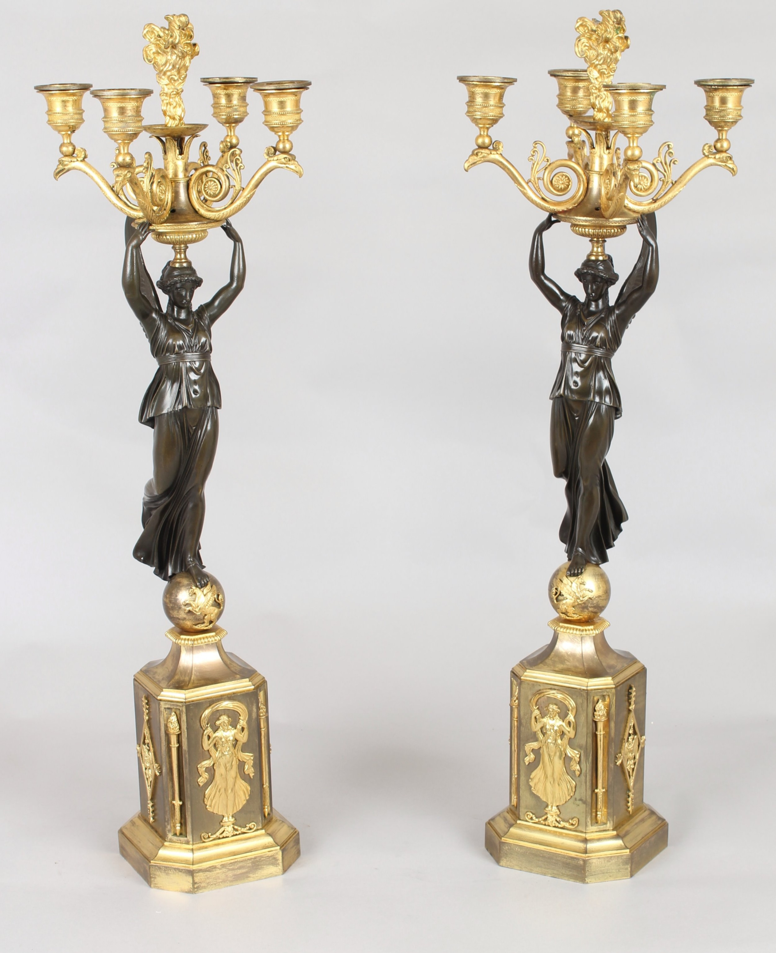 pair of fine french bronze and ormolu fivelight candelabra