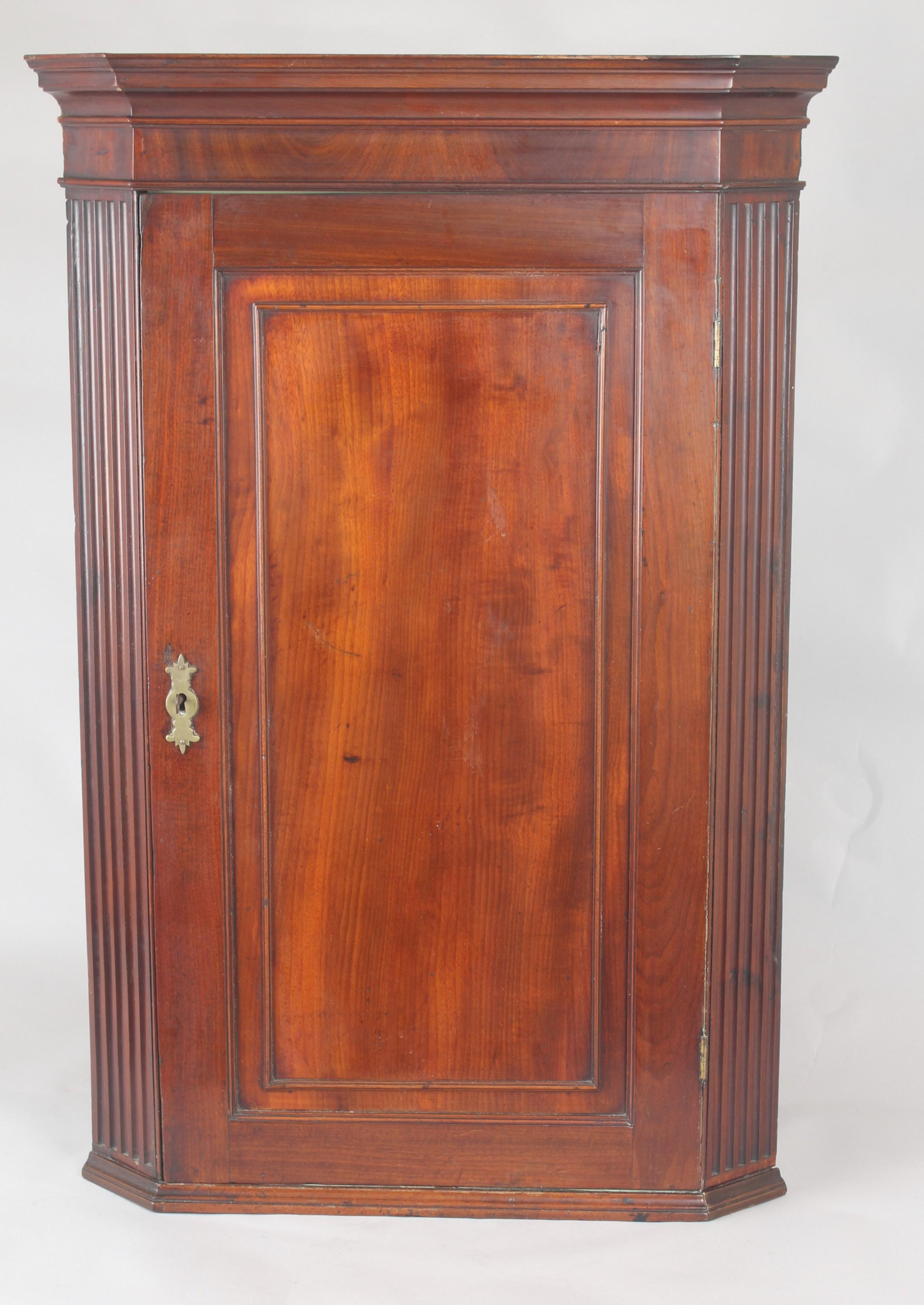 george iii period small mahogany corner cupboard