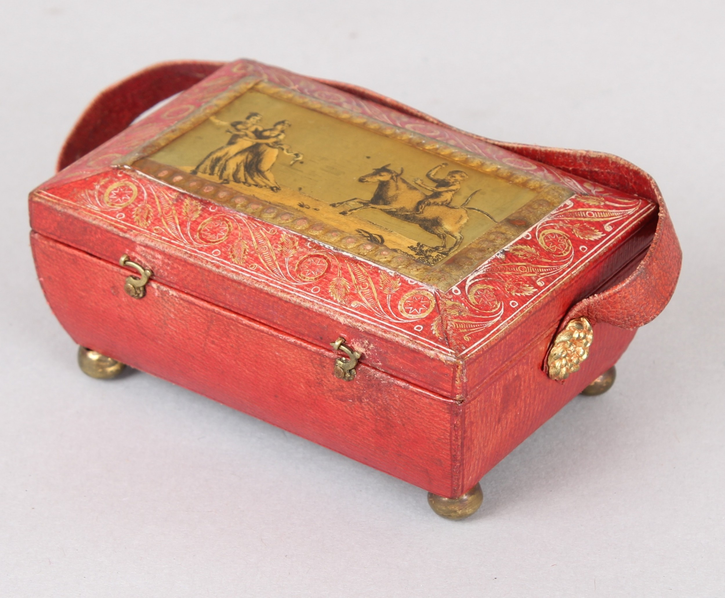 regency red leather and gilt miniature workbox