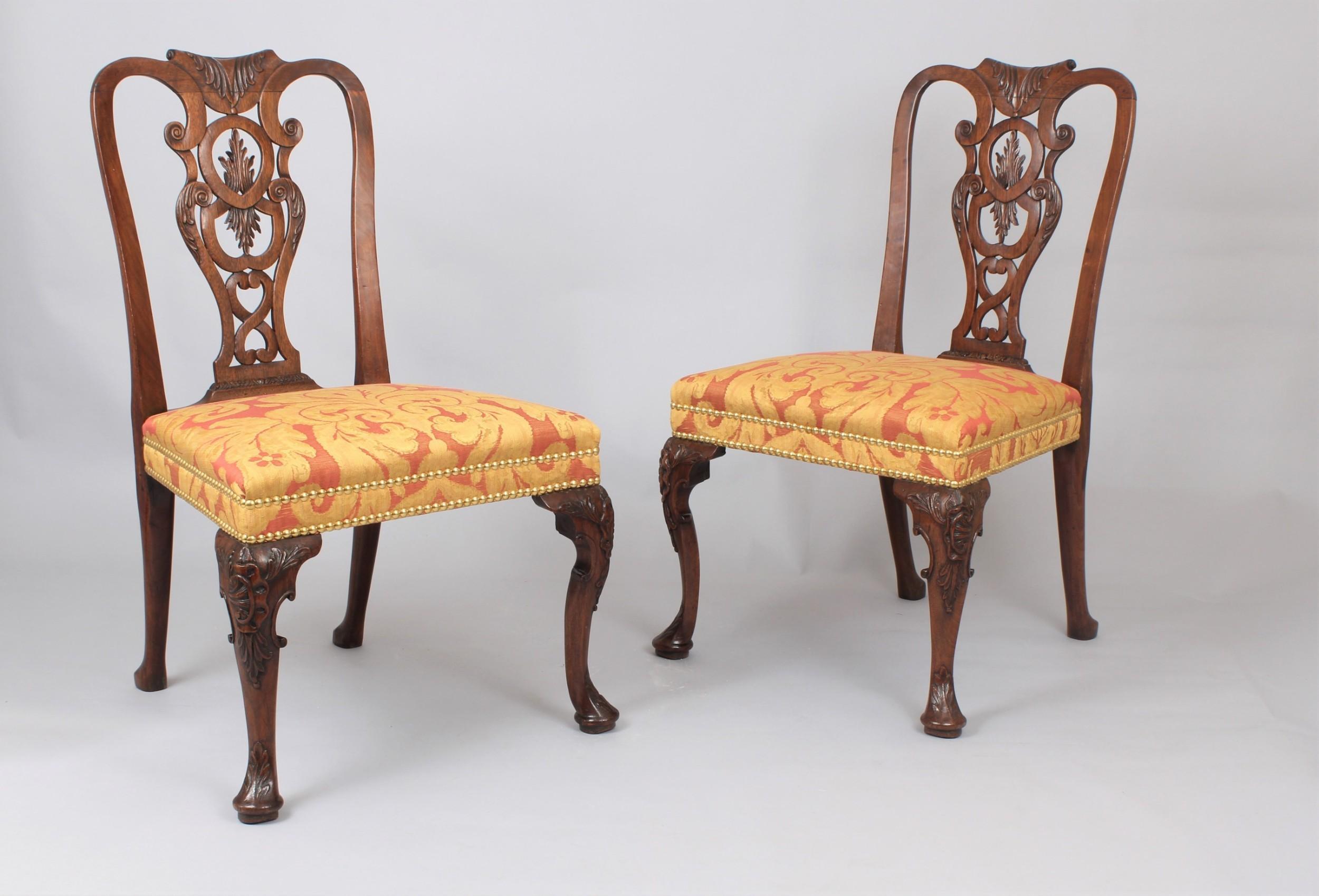 pair of fine george ii period walnut sidechairs