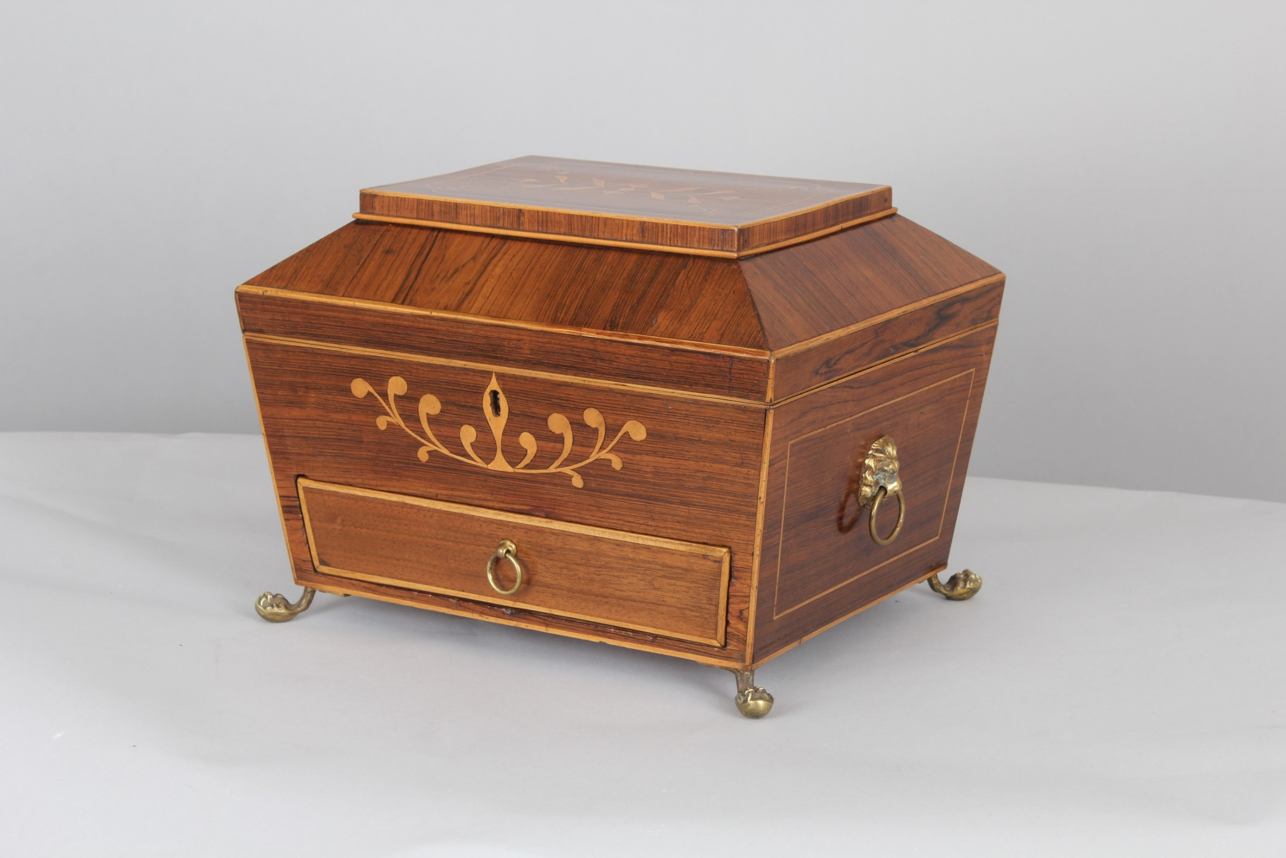 regency period mahogany work box of sarcophagus shape
