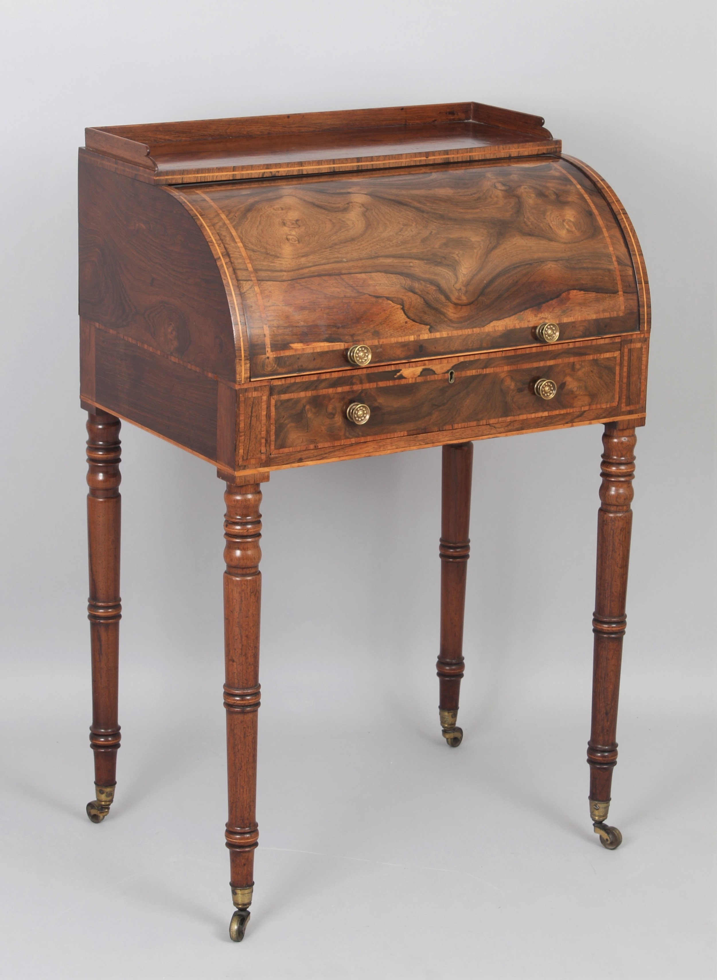 fine george iii period rosewood small cylinder front desk
